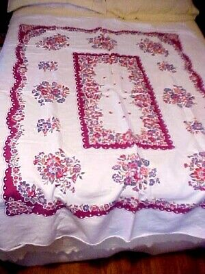 Vintage Printed Tablecloth w/ Dark Red and Blue Flowers