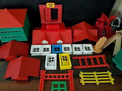 Vintage Lincoln Logs Huge Lot All Assorted Pieces Plastic Roof Wooden Slats 315+