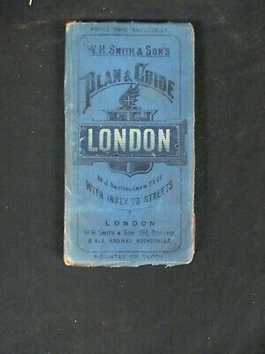 W.H.SMITH & SON'S PLAN & GUIDE LONDON 1900s Lined Map Only H692