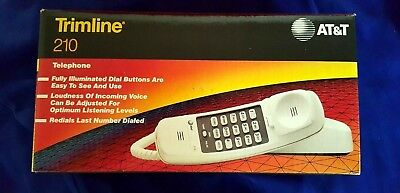 AT&T White Touch Tone 210 Trimline Phone Desk/Wall Lucent Bell 1996 In Org. Box