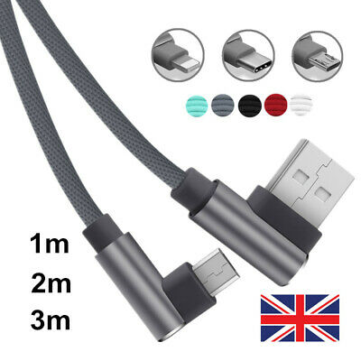 1M 2M 3M Quick Charger L-Shape USB Cable For iPhone X 8 7 6 5 2.4A Charging UK