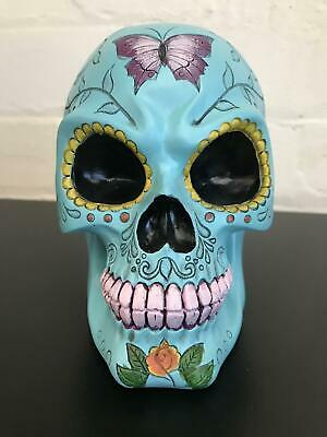 Sugar Skull Fantasy Art Figurine in Turquoise