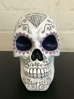Sugar Skull Fantasy Art Figurine in White