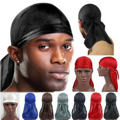 Unisex Bandana Men Women Hip-hop Durag do doo du rag long tail Hat Headwrap Caps