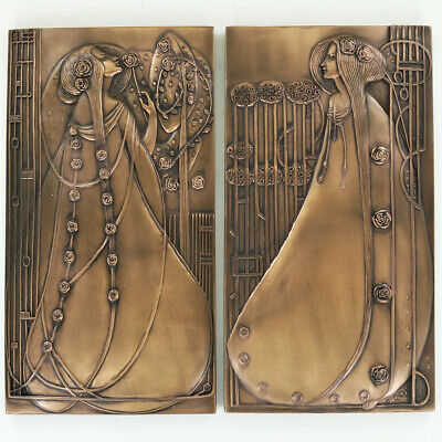 Bronze Art Nouveau Charles Rennie Mackintosh Wall Plaque Pair H24.5cm 01022