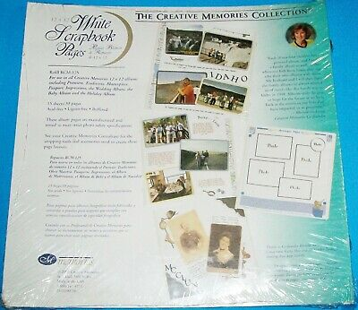 NEW 15 SHEETS CREATIVE MEMORIES 12 x 12 WHITE SCRAPBOOK PAGES REFILLS RCM-12S