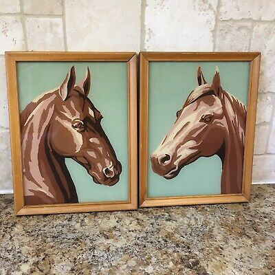 """Pair of Vintage Paint By Number Framed Horse Head Equine Bust Retro Art 9""""x7"""""""