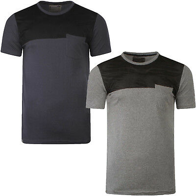 Dissident Mens Doherty T-Shirt Contrast Mesh Panelled Crew Neck Short Sleeve Top