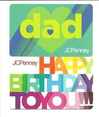 Lot (2) JC Penney Gift Card No $ Value Collectible Dad, Happy Birthday