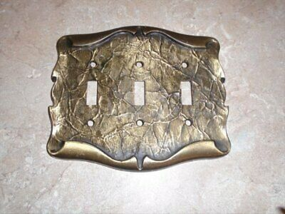 Vtg Amerock Carriage House Antique Brass Triple Light Switch Plate Cover VGC