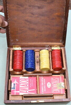 Vintage Catalin Bakelite 3 Color 300 Poker Chip Set in Walnut Box, Card Tray