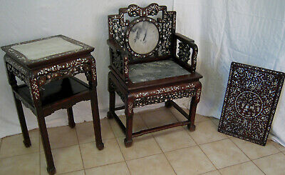 Important Qing Chinese furniture Table Chair Tray Badge rosewood marble Pearl