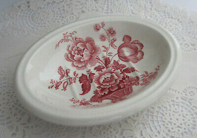 Vintage Royal Staffordshire CHARLOTTE Red Pink Transferware Ironstone Soap Dish