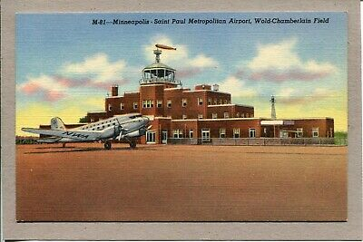 Postcard MN Minneapolis Saint Paul Airport Wold-Chamberlain Field Linen -068