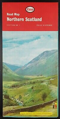 """Vintage Esso Road Map """"Northern Scotland"""", Section No 7, c 1965"""
