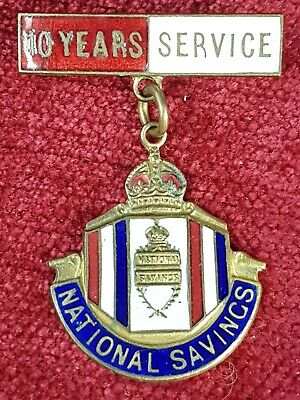 Vintage National Savings Enamel 10 Years Pin Badge by Fattorini & Sons