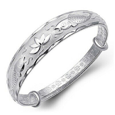 925 Sterling Silver Bangle Koi Fish Lucky Bracelet for Lady Women Jewelry Gifts