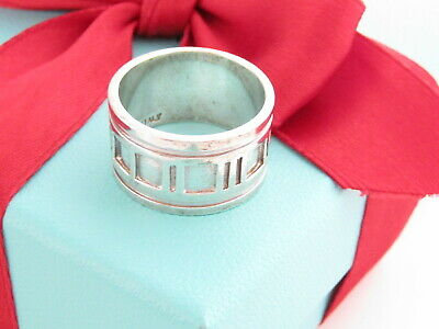 Tiffany & Co Silver Atlas Roman Numeral Wide Ring Band Size 8