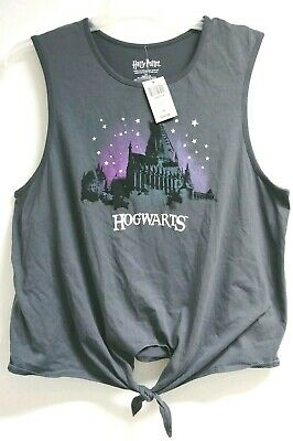 New Harry Potter Hogwarts Tank Tie Front Tee Plus Size 2X Gray NWT