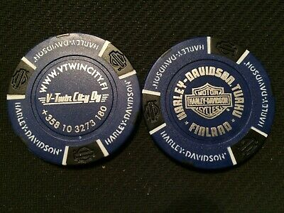 Biker Blue//Black Finland Harley International Poker Chip HD HELSINKI ~ Espoo