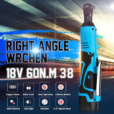 18V Rechargeable Cordless 3/8'' Electric  Ratchet Right Angle Wrench 2x Battery