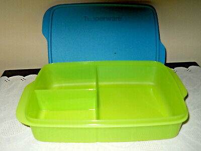 Tupperware Lunch Plate/DISH Large Blue w/ Seal- Holds 4 Cups- New!