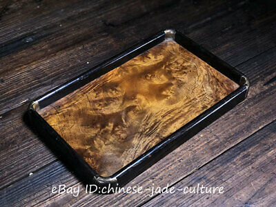 """12"""" 1960s Old China Huanghuali Wood Dynasty Carving Wine Tea Dish Tray Plate"""