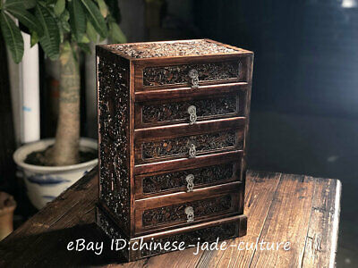 "20"" Rose Huanghuali Wood 8 Auspicious Symbol Drawer Table Desk Cupboard Cabinet"