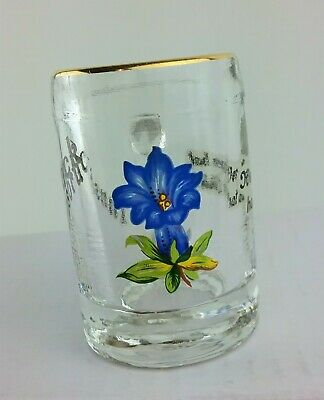 Innsbruck Austria Gold Rimmed Souvenir Shot Glass Passion Flower 2 inch