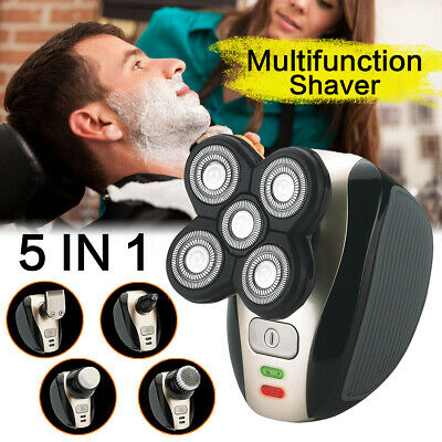 5In1 4D Rechargeable Electric Razor Shaver Cordless Trimmer Bald Head Beard Hair