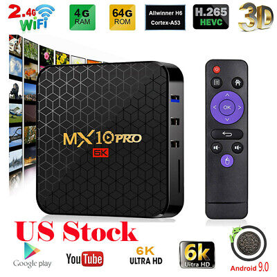 MX10 PRO Smart TV Box Android 9.0 4GB / 64GB UHD 6K Film 2.4G WiFi Media Player