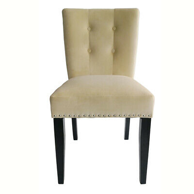 Beige Velvet Dining Chairs Kitchen Chair High Back Wooden Leg Upholstered Chairs