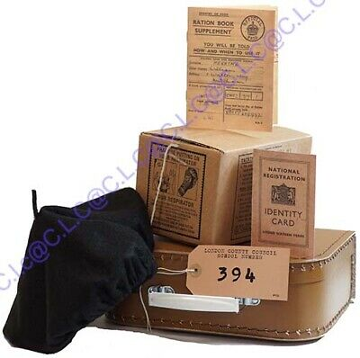 Wartime Memorabilia Gas Mask Box-Beret-Ration Book-ID Card-Suitcase-New Label