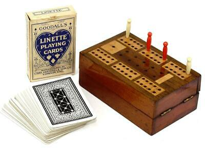 Antique Mahogany & Satinwood Inlaid Cribbage Board/Box, With Pegs & Cards