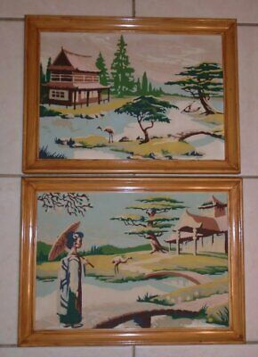 Vtg Pair Paint by Number Paintings Oriental Gardens 10 x 14 Framed VGC
