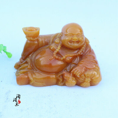 Chinese Shoushan stone carving decoration of the old Statue of Buddha