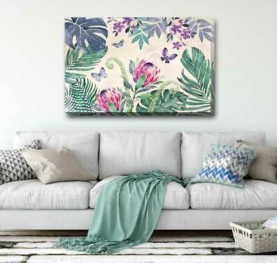 Tropical Plant Leaves Stretched Canvas Print Framed Wall Art Decor Painting F120