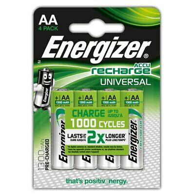 4 x Energizer AA 1300 mAh Rechargeable Batteries Universal NiMH HR06 Pre Charged