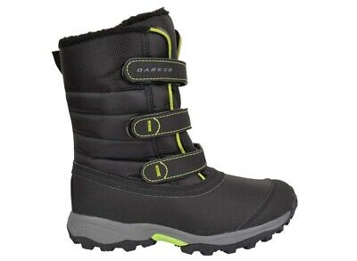 Dare2b Skiway Jnr Boys & Girls Waterproof Snow Boots Black/Lime Green