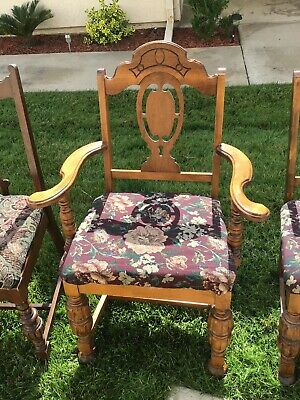 Vintage Antique Dining Accent Chair 1930's With Tapestry Fabric 2