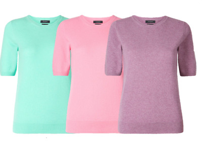 M&S AUTOGRAPH  Pure Cashmere Short Sleeve Round Neck Knitted Top PRP £69