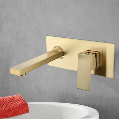 Wall Mount Brushed Gold Bathroom Basin Sink Tap Hot&Cold Spout Mixer Bath Faucet