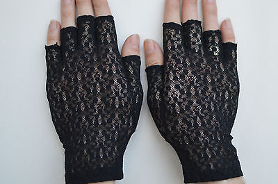 Ladies Lace Fingerless Gloves Black Size: Small / Medium  Made in Portugal