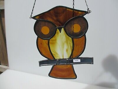 "Stained Glass Window Hanger Leaded Panel Old Owl Bird Nature Sun Catcher 8""W"