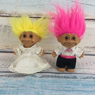 Vintage Russ Troll Doll Pink Hair Bride And Yellow Groom Wedding Tuxedo Dress