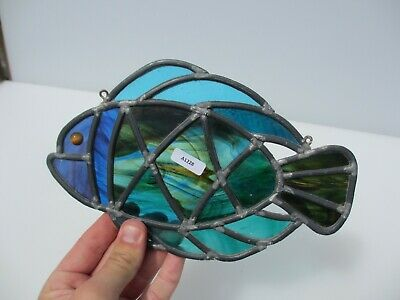 Stained Glass Window Hanger Leaded Panel Fish