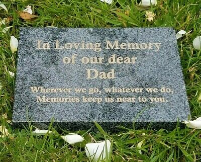 Engraved Dark Grey Granite Memorial Plaque Flat Grave Stone Marker Headstone