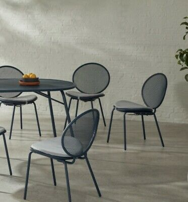 Swoon Editions Abney Round 4 Seater Dining Table Azure Blue RRP £329 NEW BOXED.