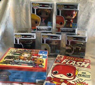 SDCC 2019 Exclusive Big Bang Theory Funko Pop Set Pack W/Shirts SZ L. IN HAND!