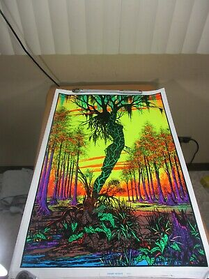 Vtg 1970's Velvet Flocked Black Light Poster Swamp Mirage 984 Goddess Funky (a)